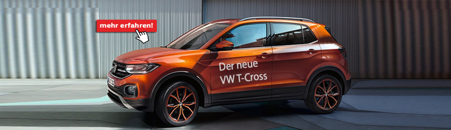 Der neue T-Cross in Energetic orange von Volkswagen